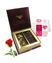 Chocholik Belgium Chocolate Gifts - Fruit And Nut Chocolate Bar With Rose And Love Card