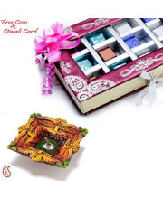 Exclusive Gift Box Of Premium Home Made Chocolates With Terracota Diya