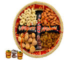 Assorted Dry Fruits with Chocolate Rakhi Thali - GAITHALI109V3808, rakhi with imported chocolate tray