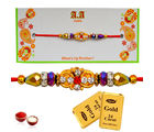 Gold 24 Carat Choco Wishes for Bhaiya - GAIR22, rakhi with imported chocolate tray