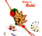 Rich Zardozi work Rakhi with Beads and velvet, only one rakhi