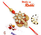 Floral Kundans and Zardozi work Rakhi, only rakhi