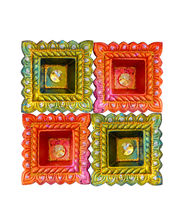 Set Of 4 Colourfull Sqaure Shape Earthen Diya, Set With Tray Of 10 Imported Assorted Chocolate Bars