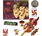 Soan Papdi Mithai & Fancy Rakhi Gift 4 Brother 226, rakhi set with 400g sweets