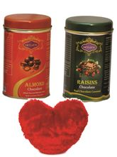 Skylofts Chocolate coated Nuts Tin packs (Set of 2) with a cute heart