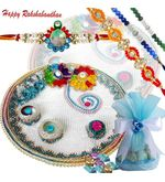 Elegant Chocolate Rakhi Thali With Four Rakhis
