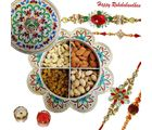 Rakhi Dry fruits Hamper With Meenakari Floral Box