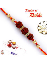 Three Rudraksh Golden Beads Rakhi, set of two rakhis