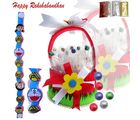Kids Rakhi with Red Chocolate Basket