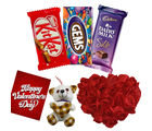Red Rose Heat Cushion with Teddy And Branded Chocolates