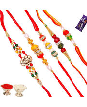 Combination of Set of 5 Pc Premium Rakhis