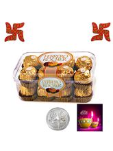 Delicious 16Pc Ferrero Rocher With Spiritual Wooden Swastik
