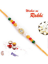Stone, Pearls, Beads Mauli Thread Rakhi, only rakhi
