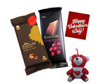 Huggable Red Teddy With Chocolates