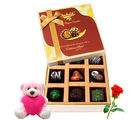Chocholik Various Flavors Of Chocolate With Teddy and Rose - Luxury Chocolates