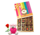 Chocholik Luxurious Pralines Collection Of Chocolates With Teddy and Rose - Belgium Chocolates