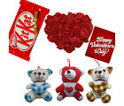 Red Rose Heat Cushion with Mix Teddy And Crispy Kit Kat