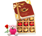 Chocholik Couple Love Gift Hamper Gift Box With Teddy and Rose - Belgium Chocolates