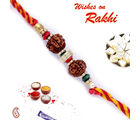 Double Rudraksh Rakhi with Golden Beads, only one rakhi