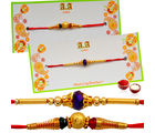 Pair of Golden Wishes - GAISET2R32R5, rakhi with imported chocolate tray