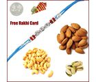 Rakhi with 225 Grams Mixed Dryfruits and Free Silver Coin