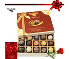 Chocholik 20pc Decadent Truffle Box With Rose And Card - Belgium Chocolates