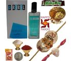 Send REBEL Perfume n Beautiful Rakhi to Brother 198, rakhi hamper only