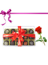 15pc Exotic Truffle Collection With Rose - Chocholik Belgium Chocolate...
