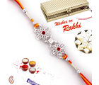 Double Floral Silver Rakhi with stone work in Premium Gift box, one rakhi with 200gm kaju katli