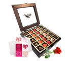Chocholik Belgium Chocolate Gifts - Love Treasure Chocolates with Rose and Love Card