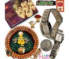 Rochees Watch Pair Pooja Thali & Soan Papdi Sweet 131, thali hamper with 400g sweets