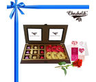 Chocholik Perfect Combination of 18pc Luxury Chocolate and Rocks Box with Red Rose and Card