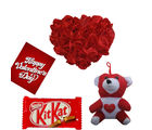 Red Rose Heart Cushion With Teddy And Chocolate