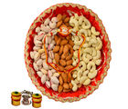 Pista Badam Kaju Dry Fruit Thali - GAITHALI153V4109, rakhi with imported chocolate tray