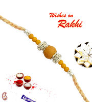 Sandalwood Beads And White Stone Hoops Rakhi, only one rakhi