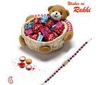 Teddy Bear cane Basket with Home made chocolates and Rakhi