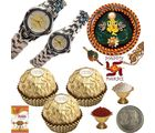 Rochees Watch Pair n Rakhi Thali Ferrero Chocolate 114, thali hamper with 16pcs ferrero