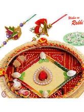 Bandhni Thali hamper with set of 02 Zardosi Rakhis, only hamper