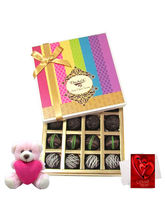 Chocholik Joy Of Dark Truffle Collection With Teddy And Love Card - Belgium Chocolates
