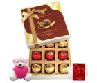 Chocholik Joy Of Chocolates Gift Box With Teddy And Love Card - Belgium Chocolates