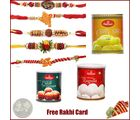 5 Rakhi with Haldiram Rasgulla, Gulab Jamun and Chamcham