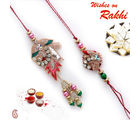 Rich Zardozi work Bhaiya Bhabhi Rakhi Set with American Diamonds, rakhi with half pound kaju katli