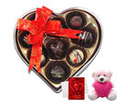 Chocholik Simple Mixed Surprises With Teddy And Love Card - Belgium Chocolates