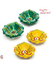 Decorated Four Bathi Diya In Hues Of Green & Yellow, design2