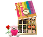 Chocholik Nicely Decorated Chocolates Gift Hamper With Teddy and Rose - Belgium Chocolates