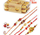 16 pc Ferrero Rocher Chocolate and set of 05 Rakhi Hamper