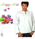 White Cotton Short Kurta with Free Natural Gulal Pack