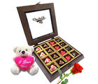 Chocholik Belgium Chocolate Gifts - Twinkling Hearts Chocolates with Rose and Love Teddy