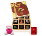 Chocholik Colorful Treat Of Dark Choco Treat With Teddy And Love Card - Luxury Chocolates