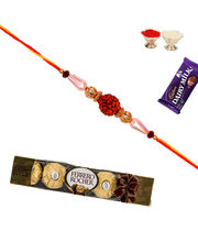 Pure Rudraksh Rakhi with 5 Pc Ferrero Rocher
